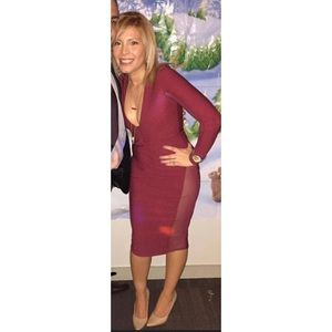 Burgundy deep V dress